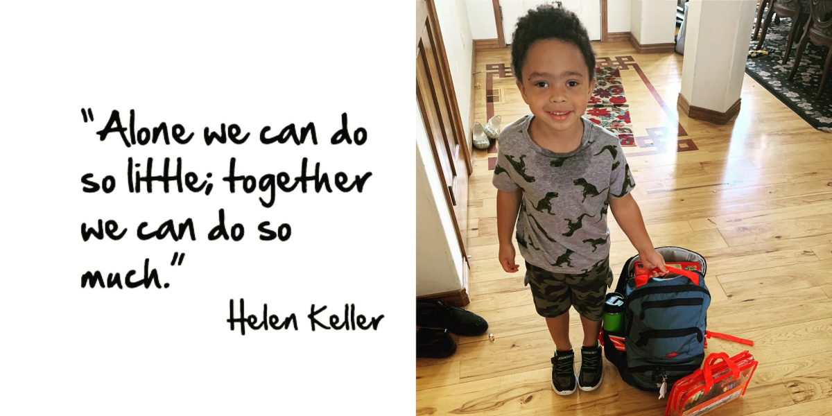 Alone we can do so little, together we can do so much. Helen Keller quote with a photo of miles